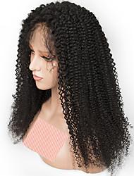 Недорогие -Remy Полностью ленточные Парик Бразильские волосы Кудрявый Парик 150% Природные волосы / С отбеленными узлами Жен. Длинные Парики из натуральных волос на кружевной основе