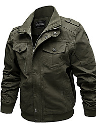 Недорогие -Муж. Куртка Уличный стиль - Однотонный / Длинный рукав / Большие размеры