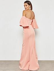 baratos -Mulheres Moda de Rua / Sofisticado Bainha / balanço Vestido - Frufru, Sólido Longo