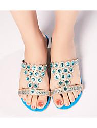 baratos -Mulheres Sapatos Sintéticos Verão Conforto Sandálias Salto Baixo Fúcsia / Azul Real
