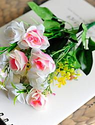 abordables -Fleurs artificielles 1 Une succursale Classique Oriental Roses Fleur de Table