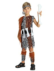cheap -Primitive Outfits Boys' Halloween / Carnival / Children's Day Festival / Holiday Halloween Costumes Brown Solid Colored / Spot / Halloween Halloween
