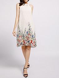 cheap -Women's Elegant Chiffon Dress - Geometric Print