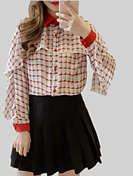 cheap -Women's Blouse - Solid Colored / Geometric / Color Block Ruffle / Patchwork
