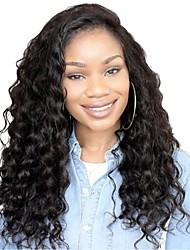 abordables -Cabello Remy Encaje Frontal Peluca Cabello Brasileño Curl suelto Peluca Corte a capas 130% Entradas Naturales / Para mujeres de color Negro Mujer Larga Pelucas de Cabello Natural