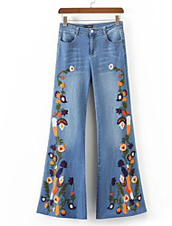 cheap -Women's Slim Jeans Pants - Floral / Work