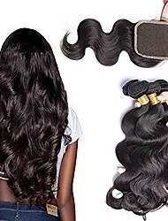cheap -Brazilian Hair Wavy Hair Weft with Closure 3 Bundles With  Closure 8-24 inch Human Hair Weaves Machine Made Easy dressing / Natural / Best Quality Natural Black Human Hair Extensions Unisex