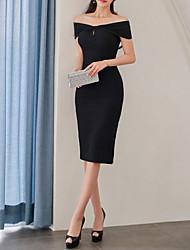 cheap -Women's Work Slim Sheath / Little Black Dress Boat Neck