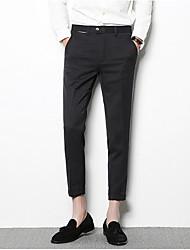 Χαμηλού Κόστους Στολές-Ανδρικά Ψηλή Μέση Λεπτό Παντελόνι επίσημο Παντελόνι Μονόχρωμο / Δουλειά
