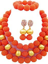 Недорогие -Жен. Многослойность Комплект ювелирных изделий - Шарообразные Мода Включают Strand Браслеты Зеленый / Розовый / Ярко-розовый Назначение Повседневные
