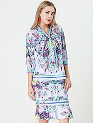 baratos -Mulheres Básico / Sofisticado Camisa Social Floral Saia