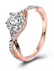 abordables -Mujer Zirconia Cúbica Apilar Anillo - Rosa Oro Plateado Clásico, Elegante 7 / 8 / 9 Oro Rosa Para Boda / Fiesta