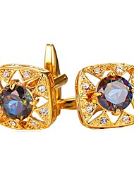cheap -Cubic Silver / Golden Cufflinks Zircon / Copper Formal / Fashion Men's Costume Jewelry For Gift / Daily