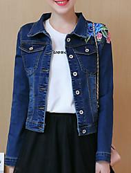 baratos -Mulheres Jaqueta jeans Básico - Floral Bordado