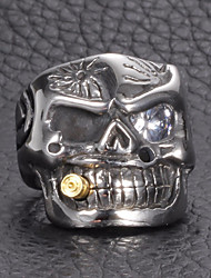cheap -Men's Cubic Zirconia Stylish / 3D Statement Ring - Titanium Steel, Stainless Skull, Creative Statement, Vintage, Punk 8 / 9 / 10 Silver For Gift / Street