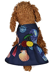 cheap -Dogs / Cats Dress Dog Clothes Floral / Botanical / Reactive Print / Flower / Floral Dark Blue / Pink Terylene Costume For Pets Female One Piece / Dresses&Skirts