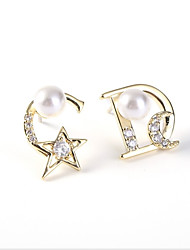 cheap -Women's Cubic Zirconia / Freshwater Pearl Stylish / Mismatched Mismatch Earrings - S925 Sterling Silver Letter, Star Stylish, Romantic, Sweet Gold / Silver For Gift / Date