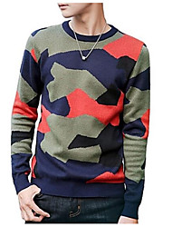 cheap -Men's Long Sleeve Pullover - Solid Colored Round Neck