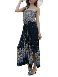 cheap -Women's Basic Slim Sheath Dress Maxi Strapless / Summer