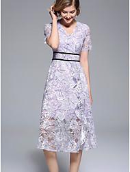 cheap -Women's Going out A Line Dress Lace High Waist V Neck