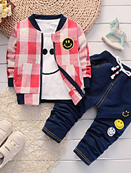 cheap -Baby Boys' Blue & White / Black & Red Houndstooth / Check Long Sleeve Clothing Set