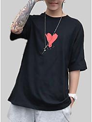 abordables -Hombre / Mujer Retazos / Estampado Camiseta Un Color / A Rayas