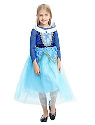 Недорогие -Принцесса Костюм Девочки Хэллоуин Карнавал День детей Фестиваль / праздник Костюмы на Хэллоуин Инвентарь Чернильный синий Однотонный Halloween Хэллоуин