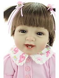 Недорогие -NPKCOLLECTION Куклы реборн Девочки 24 дюймовый Винил - как живой, Ручные прикладные ресницы, Гофрированные и запечатанные ногти Детские Девочки Подарок / Искусственная имплантация Коричневые глаза