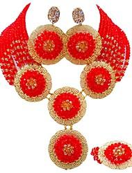 Недорогие -Жен. Многослойность Комплект ювелирных изделий - Австрийские кристаллы MOON Мода Включают Струнные ожерелья Красный / Зеленый / Светло-коричневый Назначение Для вечеринок