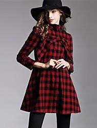economico -Camicia Per donna Moda città Con fiocco, A quadri Nero e rosso