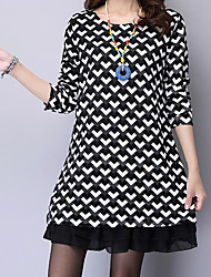 cheap -Women's Street chic / Chinoiserie Shift / Swing Dress - Geometric Black & White, Tassel