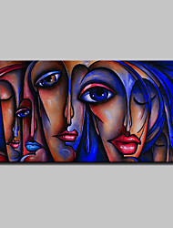 cheap -Oil Painting Hand Painted - People / Pop Art Classic / Modern Canvas