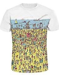 billige -Rund hals Herre / Dame - Geometrisk Bomuld T-shirt / Kortærmet / Lang
