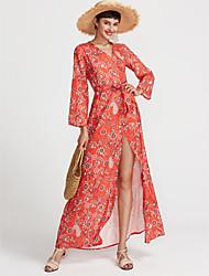 baratos -Mulheres Sofisticado Delgado Rodado Vestido Floral Decote V Longo Vermelho