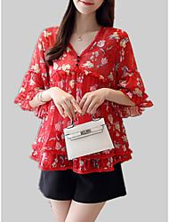 cheap -Women's Blouse - Floral / Geometric Ruffle / Print