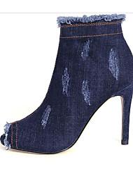 Недорогие -Жен. Обувь Деним Осень Удобная обувь / Модная обувь Ботинки На шпильке Ботинки Черный / Синий
