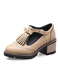 Недорогие -Жен. Обувь Полиуретан Весна лето С Т-образной перепонкой Туфли на шнуровке На толстом каблуке Круглый носок Черный / Бежевый / Коричневый