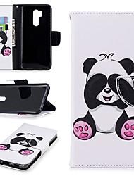 Недорогие -Кейс для Назначение LG G7 Кошелек / Бумажник для карт / со стендом Чехол Панда Твердый Кожа PU для LG G7