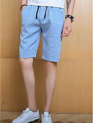 abordables -Hombre Chic de Calle Shorts Pantalones - A Cuadros