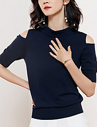 cheap -women's going out short sleeve slim pullover - solid colored shirt collar