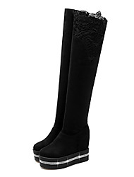 cheap -Women's Shoes Synthetics Fall & Winter Fashion Boots Boots Wedge Heel Round Toe Over The Knee Boots Rhinestone / Sparkling Glitter / Stitching Lace Black / Wine / Leopard