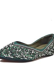 baratos -Mulheres Sapatos PVC Outono Conforto Rasos Sem Salto Lantejoulas Preto / Verde