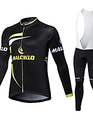 cheap -Malciklo Men's Long Sleeves Cycling Jersey with Bib Tights - White Black British Geometic Bike Tights Clothing Suits, 3D Pad, Quick Dry,