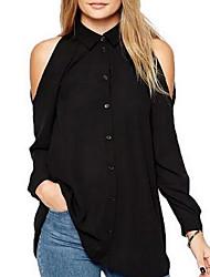 abordables -Mujer Básico Camisa, Cuello Camisero Un Color