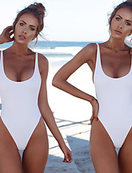 baratos -Mulheres roupa de banho Design Anatômico, Esticar Fibra Sintética Sem Manga Roupa de Banho Roupa de Praia Body Spot Natação