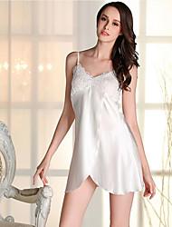 abordables -Mujer Escote en V Profunda Satén y Seda / Ultrasexy Pijamas Un Color