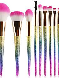 abordables -Paquete de 10 Pinceles de maquillaje Profesional Sistemas de cepillo Fibra de nilón Ecológica / Suave Plástico