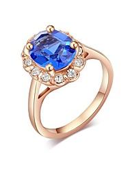 abordables -Mujer Zirconia Cúbica Apilar / Solitario Anillo - Rosa Oro Plateado 5 / 6 / 7 Azul Para Boda / Fiesta