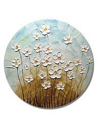cheap -STYLEDECOR Modern Hand Painted Abstract Circular Frame Blue and Brown Background with Yellow Pistil White