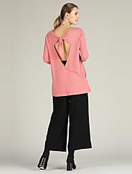 abordables -Femme Actif / Basique Pullover - Couleur Pleine, Lacet